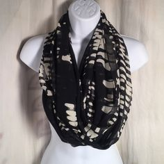 Calvin Klein Sheer Loop Abstract Scarf NWOT Black No issues, many ways to wear! Calvin Klein Accessories Scarves & Wraps