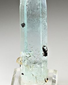Beryl var. Aquamarine | #Geology #GeologyPage #Mineral Location: Haramosh Mts. Skardu District Baltistan Gilgit-Baltistan Pakistan Size: 10.0 x 1.7 x 0.8 cm (cabinet) Photo Copyright Weinrich Minerals Geology Page www.geologypage.com