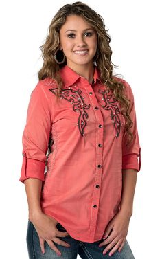 Roar Women's Vintage Ellie Coral with Embroidery Long Sleeve Western Shirt