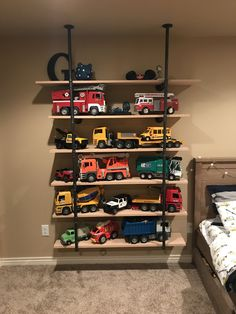 DIY Toy Organizer, DIY Toy Storage Ideas Perfect for small rooms and children!DIY Toy Organizer, DIY Toy Storage Ideas Perfect for small rooms and children! Toy Storage Solutions, Diy Toy Storage, Kids Storage, Truck Storage, Toy Storage Shelves, Boys Bedroom Storage, Toy Storage Organizer, Shelves For Toys, Shelving For Kids Room