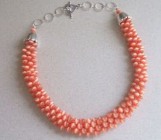 Peach Kumihimo Bead Braided Necklace by FranksStudio on Etsy, $35.00