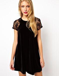 Love Velvet Swing Dress with Lace Insert