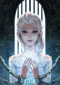 Walt Disney animation movie enchanting fairytale Frozen, Elsa, Art by Kipa
