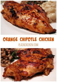 Chicken // Orange Chipotle Chicken Marinade - orange juice, honey and chipotles - packed full of flavor! Can grill chicken or pan sauté for a quick and healthy dinner. Poulet Au Chipotle, Chipotle Chicken Marinade, Chicken Marinades, Orange Juice Chicken Marinade, Orange Chicken, Turkey Recipes, Mexican Food Recipes, Chicken Recipes, Dinner Recipes