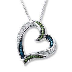 Blue/Green Diamonds 1/6 ct tw Necklace Sterling Silver $199 www.kay.com