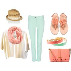 Mint and Light Coral, created by katyoh19 on Polyvore