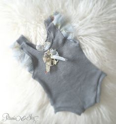Newborn Grey Ruffled Sleeve Romper Baby Girl by PetuniaandIvy