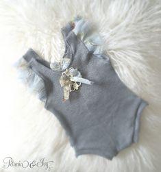 Newborn Grey Ruffled Sleeve Romper Baby Girl by PetuniaandIvy