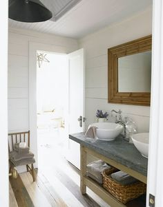 Rustic/beachy bathroom.  I love all of the natural elements.