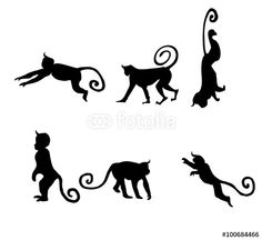 Vector: black isolated monkey silhouettes