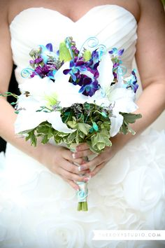 Photography by Samantha McGranahan, The Roxy Studio. Wedding photography, wedding bouquet, blue and purple wedding, fun bridal bouquet, white lilly wedding bouquet