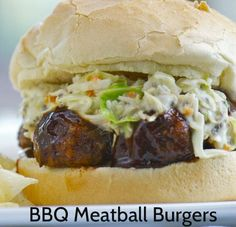BBQ Meatball Burgers - Incredibly delicious and a super-simple crowd-pleaser! http://100waystopreparehamburger.blogspot.ca/