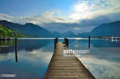 Stock Photo : Wooden Jetty at Lake of Lucerne