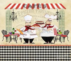 Trademark Fine Art 'French Cafe Chefs Graphic Art Print on Wrapped Canvas Size: H x W x D Artist Canvas, Canvas Art, Canvas Prints, Art Prints, Canvas Size, Canvas Material, Canvas Fabric, French Cafe, Rustic French
