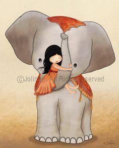 Illustration of girl on elephant kids room art wall por jolinne