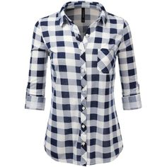 Amazon.com: JJ Perfection Womens Long Sleeve Collared Button Down... ($14) ❤ liked on Polyvore featuring tops, long sleeve shirts, plaid shirts, plaid button up shirts, long-sleeve shirt and flannel shirt