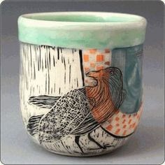 Ceramic Crow Teabowl by Patricia Griffin Ceramic Cups, Ceramic Pottery, Pottery Art, Sculpture Art, Sculptures, Crow Bird, Clay Bowl, Scratchboard, Ceramic Animals