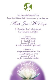 """Sweet 16 """"Princess and the Frog"""" invitation"""