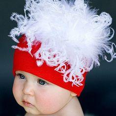 Santa Baby Curly Marabou Hat by Jamie Rae, Holiday Hats, Christmas Hats for Baby Santa Baby, Little Doll, Little Babies, Cute Babies, Christmas Baby, Merry Christmas, Newborn Christmas, Christmas Ideas, Christmas Decor