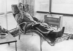 "Bruno Mathsson - genious Swedish furniture designer, most well-known for his designs for DUX, in his ""Pernilla"" lounging chair, 1970s (how comfortable does that thing look?)."