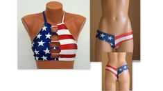 American Flag Bikini/USA Flag strappy bikini top thong hipster bottoms/Swimsuits women/Swimwear plus July/Bathing suits/Patriotic - Plus Size Cut Out Bikini, Bikini Set, Bikini Tops, Blue Bikini, Women's Plus Size Swimwear, Plus Size Bikini, Strappy Bikini Top, Halter Bikini, Sexy Bikini