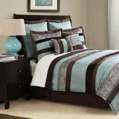 Bed Ink Aqua Chocolate Bedding By Bed Ink Bedding, Comforters, Comforter Sets, Duvets, Bedspreads, Quilts, Sheets, Pillows: The Home Decorat...