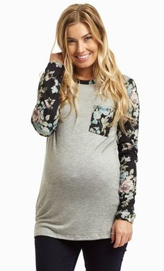 Take a break from your dark winter wardrobe and freshen up with this floral knit accent maternity top. Nothing like a natural floral print to give you a fresh perspective while still keeping you warm when the weather is cold with long sleeves. Style this long sleeve knit top with a pair of jeans and boots for a beautiful ensemble.  Perfect for women's and maternity.