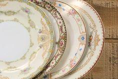 Mismatched Vintage Small Plates for Wedding Set of 4 Dessert