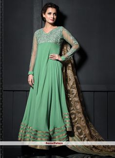 Diya Mirza Style Sea Green Shaded Georgette Anarkali Suit