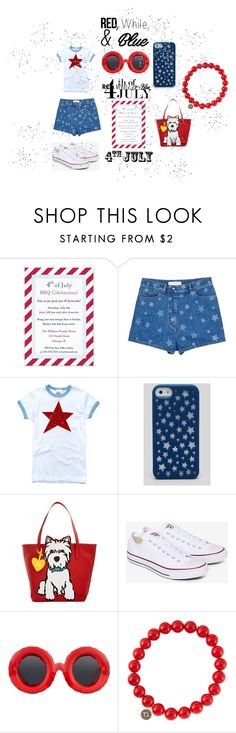 """RED, White, and Blue Fashion"" by mandimwpink ❤ liked on Polyvore featuring Valentino, Kate Spade, Marc Tetro, Converse, Jeremy Scott, Sydney Evan, redwhiteandblue and july4th"