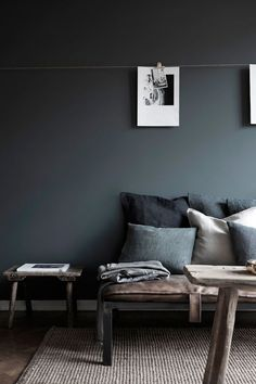 I like the idea of a dark wall color for James' room. This or navy. ?