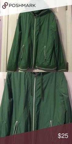 Green windbreaker Thick green windbreaker with soft gray cotton material inside Sonoma Jackets & Coats Utility Jackets