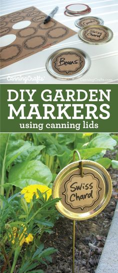 Easy tutorial for DIY Garden Markers using canning lids & canning jar labels. This makes a nice eco-friendly craft if you reuse old canning lids too Garden Labels, Plant Labels, Organic Gardening, Gardening Tips, Sustainable Gardening, Diy Design, Canning Jar Labels, Types Of Herbs, Diy Garden