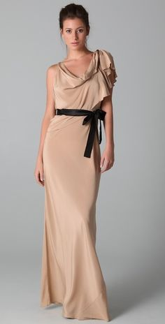 formal holiday party option #1 beige asymmetrical floor-length silk dress with contrasting ribbon belt. This is the one I ordered to try on.