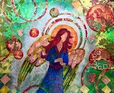 Gelli Plate Prints Angel Pattern