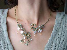Bleeding Heart Freshwater pearl Swarovski by FairyberryBlossoms, $98.00