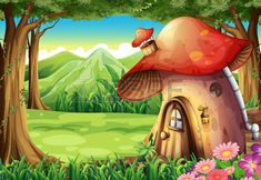 Find Illustration Forest Mushroom House stock images in HD and millions of other royalty-free stock photos, illustrations and vectors in the Shutterstock collection. Thousands of new, high-quality pictures added every day. Mushroom Decor, Mushroom House, Mushroom Art, Background Clipart, Cartoon Background, Fabric Photography, Background For Photography, Mystical Forest, Fairy Tales For Kids