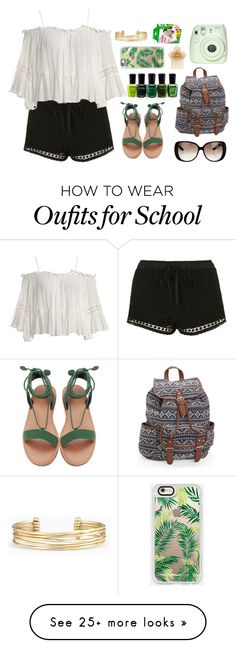 """""""Back To School"""" by sugarplumfairy98 on Polyvore featuring Topshop, Sans Souci, Gucci, Aéropostale, Zoya, Stella & Dot, Casetify, Fujifilm, Miriam Haskell and spf98fashion"""