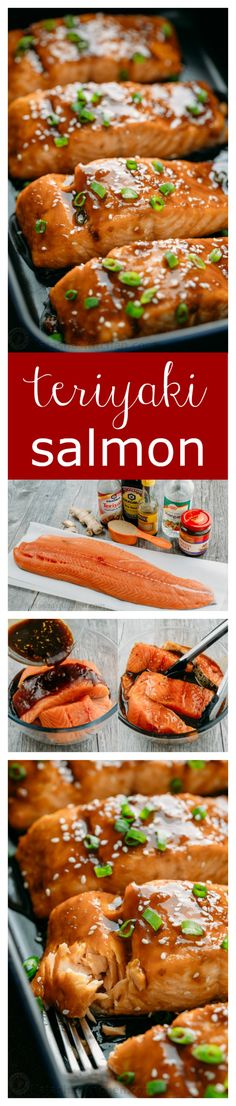 This teriyaki salmon recipe is a winner! Simple ingredients and no lengthy marin… This teriyaki salmon recipe is a winner! Simple ingredients and no lengthy marinating needed. A flaky, juicy and delicious teriyaki glazed salmon recipe. Fish Recipes, Seafood Recipes, Asian Recipes, New Recipes, Cooking Recipes, Healthy Recipes, Dinner Recipes, Recipies, Tilapia Recipes