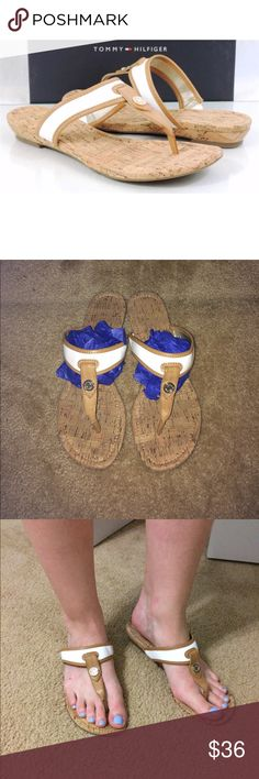 Tommy Hilfiger Cork Sandals Like new! Worn one time. Brand is Tommy Hilfiger, women's size 10. Thong style sandal, style name is Bradley. White color with cork lining. Very comfortable & no damages. Tommy Hilfiger Shoes Sandals