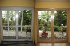 alte Kunststoff-Balkontür und neue Holz-Aluminium-Balkontür ------------- old pvc door and new wood-aluminium door