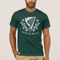 Shop Erin Go Bragh Harp Tees created by OfficeGangsta. Personalize it with photos & text or purchase as is! Erin Go Bragh, St Patrick Day Shirts, St Paddys Day, Harp, American Apparel, Fitness Models, How To Make, How To Wear, Tees
