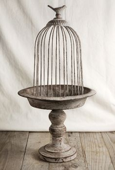 """20"""" Antiqued Pedestal With Cage $ 21 or 4 for $ 18 ea. ~ Use to hold postcard collection, photos, flowers or candles!"""