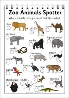 animals spotter sheet from sparkle box. Use with Apologia Zoology, field trip idea,Zoo animals spotter sheet from sparkle box. Use with Apologia Zoology, field trip idea, The Zoo, Zoo Preschool, In Kindergarten, Animal Art Projects, Animal Crafts, Zoo Crafts, List Of Animals, Zoo Animals, Wild Animals
