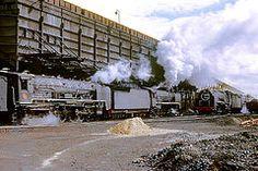 R4379.  Coaling Stage at De Aar.  3rd September,1972. (Ron Fisher) Tags: sas sar narrowgauge 484 schmalspurbahn 25nc deaar southafricanrailways coalingstage voieetroite capegauge 36gauge southafricansteam vision:outdoor=097 vision:sky=0616