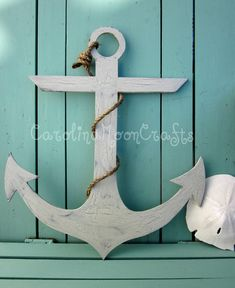 Wooden Anchor Beach Wreath Beach Decor by CarolinaMoonCrafts