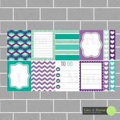 Purple Peppermint Pack | Erin Condren Planner Square Stickers (5.00 AUD) by LimeandMortar
