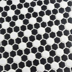 "EliteTile Retro 0.75"" x 0.75"" Mini Hex Porcelain Mosaic Tile in Matte Black with White Dot"