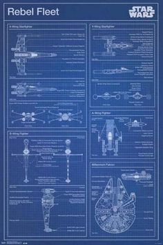 Build your own X-Wing or Millennium Falcon with this awesome Star Wars Rebel Fleet Blueprint poster! Be a good Jedi and check out the rest of our amazing selection of Star Wars posters! Need Poster Mounts. Star Citizen, Star Wars Room, Star Wars Art, Star Wars Rebels, Stargate, Citations Star Wars, Images Star Wars, Nave Star Wars, Star Wars Painting