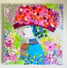 TABLEAU MODERNE FEMME ROBE COLOREE - tableau multicolore, tableau ...